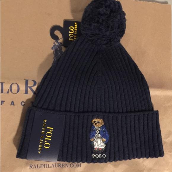 New Polo Ralph Lauren Navy Sweater Bear Beanie Hat 84f7cd2dbfcf